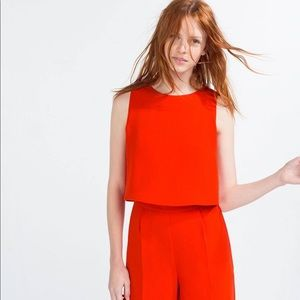 ✨ ZARA red orange jumpsuit